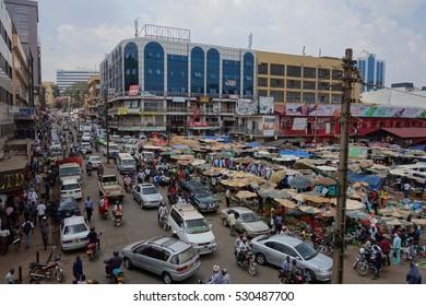 KAMPALA, UGANDA - CIRCA SEPTEMBER 2016: Nakasero Market square