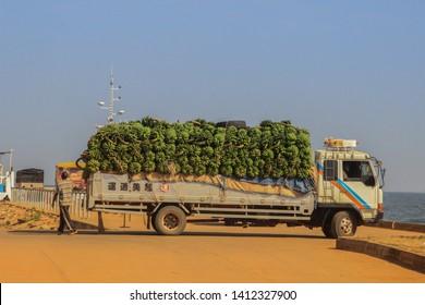 Kampala, Uganda - February 3, 2015: Transportation of bananas on a truck in the port of Jinja.