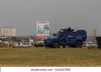 Kampala, Uganda - February 3, 2015: A huge armored military blue police car in Kampala.