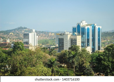 Kampala, Uganda - January 21, 2015: business center of the city in the green trees. View from above.