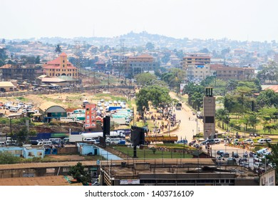 Kampala, Uganda - January 21, 2015: view of the city center from a height. Catholic church and clock tower.