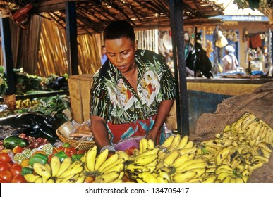 KAMPALA, UGANDA - JULY 24: An unidentified vendor in the market on July 24, 2004 in Kampala. Uganda is one of the poorest nations in the world.