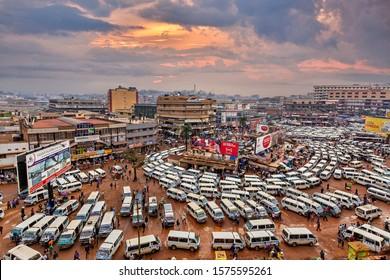 KAMPALA, UGANDA - JULY 9, 2019: View over the central bus station in Kampala, Uganda