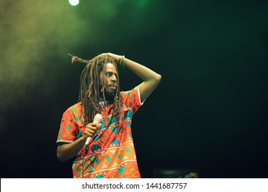 KAMPALA, UGANDA - JUNE, 29, 2019: Jamaican Reggae artiste Jamar McNaughton aka Chronixx performing at the Pulse Jam Fest in East Africa.