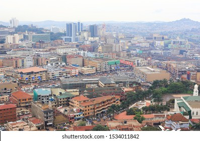 Kampala, Uganda – Oct 30, 2017: View of Kampala city center. Kampala (Hill of the impala in the local language) is a fast-growing capital with a population of over 2 million people.