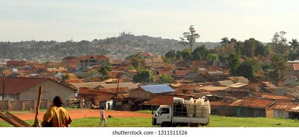 Kampala, Uganda - October 2, 2012: Panoramic view of some of the suburbs of Kampala, Uganda.