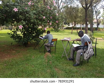 Kampala, Uganda- October 2017: African students study for national exam under blossom tree