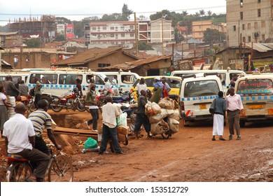 KAMPALA, UGANDA - SEPTEMBER 28, 2012.  A look at life on the side streets of Kampala, Uganda on September 28,2012.