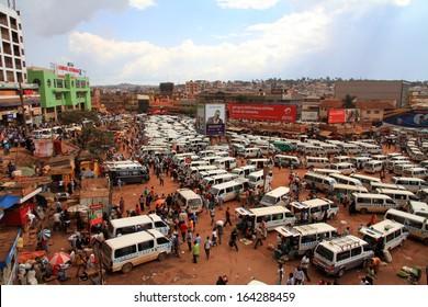 KAMPALA, UGANDA - SEPTEMBER 28, 2012.  The Kampala taxi park busily moving along in Kampala, Uganda on September 28,2012.