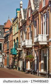 Kampen, The Netherlands, July 30, 2020: row of colorful houses in the old town, built in the beginning of the twentieth century