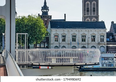 Kampen, The Netherlands, July 30, 2020: observation platform with bench attached to the city bridge across the river IJssel