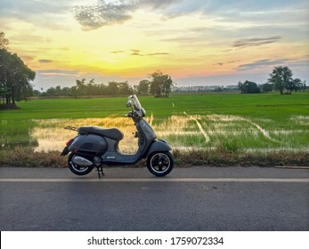 Kamphaeng phet, Thailand - 19 June 2020 : New vespa italian vintage scooter with rice field landscape and beautiful evening sun.