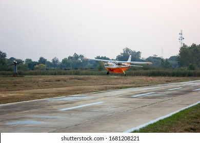 Kamphaeng Saen, Nakhon Pathom, Thailand - 9, March 2020: A radio control plane consisting of modern technology is about to take off.