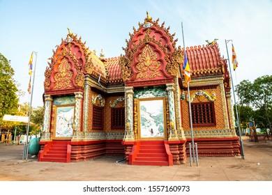 KAMPONG CHAM, CAMBODIA, APR 27, 2019: Wat Hanchey, a Buddhist temple near Kampong Cham city, Cambodia