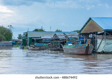 KAMPONG CHHNANG, CAMBODIA - 18-SEP-2016 : Floating house along the Tonle sap River is a combined lake and river system of major importance to Cambodia in Tonle Sap Lake, Kampong Chhnang Cambodia.