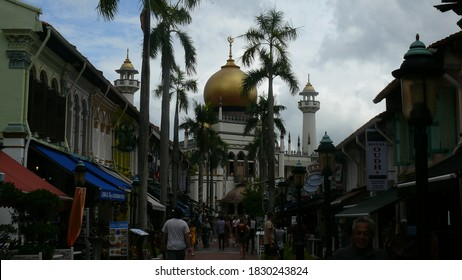Kampong Gelam, Singapore - March 02 2020: The view on the mosque located in Kampong Gelam