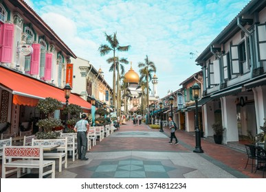 Kampong Glamm Singapore - January 26, 2019: Rows of stalls in glam village and sultan's mosque