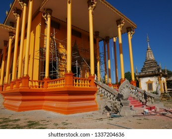 Kampong Thom, Cambodia. 19-12-2018. The almost complete new pagoda of Entri Sam Voreak or Wat Kampong Thom.
