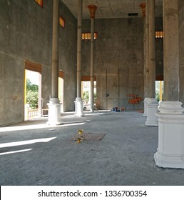 Kampong Thom, Cambodia. 19-12-2018. The unfinished interior of the new Kampong Thom Wat.