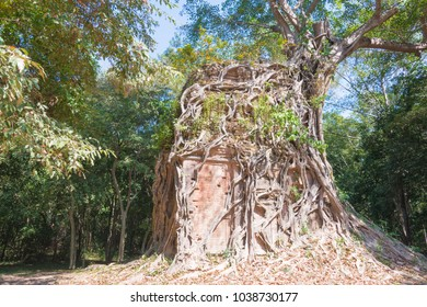 Kampong Thom, Cambodia - Dec 19 2017: Sambor Prei Kuk in Kampong Thom, Cambodia. It is part of the Temple Zone of Sambor Prei Kuk World Heritage Site.