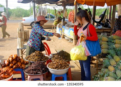 KAMPONG THUM CAMBODIA MARCH 26: People sale fried bugs, spiders, crickets and little birds on march 26 2013 in Kampong Thum Cambodia.
