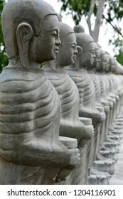 Kampong Tralach; Kingdom of Cambodia - august 21 2018 : the Wat Kampong Tralach Leu pagoda site