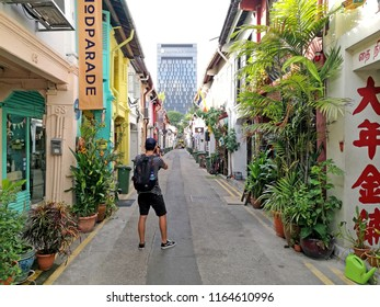 Kampongklam,Singapore-September 3,2017 : Haji lane street is street art and colorful painting with many unique shop and restaurant singapore