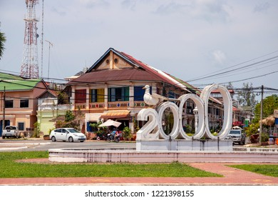 Kampot, Cambodia - 12 April 2018: town view with french colonial buildings and khmer people daily lifestyle
