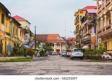 KAMPOT, CAMBODIA - DECEMBER 15: Kampot city center on December 15, 2016 in Kampot, Cambodia. Buildings in the streets of Kampot Old Town.