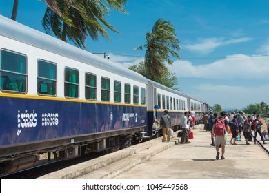 Kampot, Cambodia - Jan 13 2018: Kampot Railway station in Kampot, Cambodia. Cambodia has 612km of 1000mm metre gauge rail network.