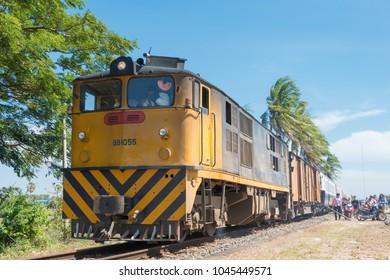Kampot, Cambodia - Jan 13 2018: Diesel Locomotive at Kampot Railway station in Kampot, Cambodia. Cambodia has 612km of 1000mm metre gauge rail network.