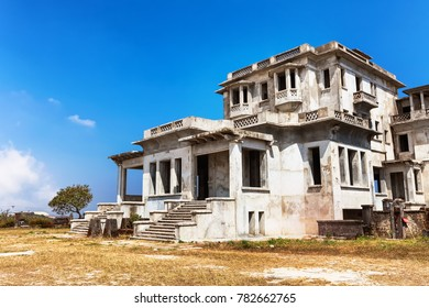Kampot, Cambodia - January 27, 2015: Abandoned hotel Bokor Palace in Ghost town Bokor Hill station near the town of Kampot. Cambodia lonely in the clouds