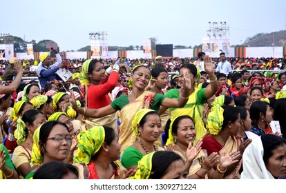 Kamprup,Assam/India:09 February 2019:BJP supporters dance as Prime Minister Narendra Modi's visits for a BJP public meeting, in Kamrup, Assam India.