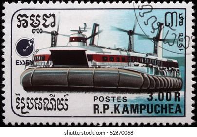 KAMPUCHEA - CIRCA 1988: A stamp printed in Kampuchea shows sea ship, Netherlands, circa 1988