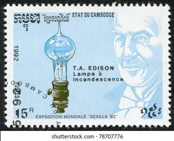 KAMPUCHEA-CIRCA 1992: A stamp printed in the Cambodia, devoted EXPO-92 in Seville, shows Thomas Edison, circa 1992