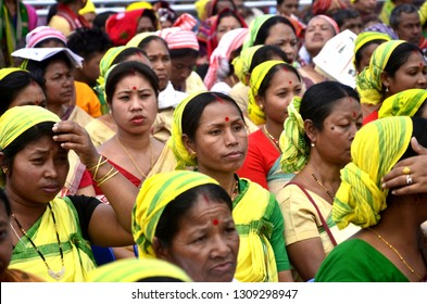 Kamrup,Assam/India:09 February 2019:BJP supporters durin Prime Minister Narendra Modi's visits for a BJP public meeting, in Kamrup, Assam India.