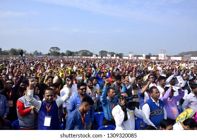 Kamrup,Assam/India:09 February 2019:BJP supporters during Prime Minister Narendra Modi's visits for a BJP public meeting, in Kamrup, Assam India.