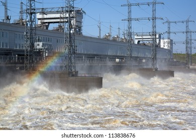 Kamsky hydroelectric power station. Water dumping