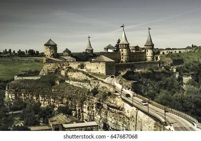 Kamyanets-Podilsky fortress, Ukraine.Artistic-style image.