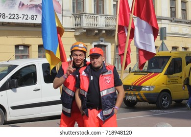 Kamyanets-Podilsky, Ukraine - August 24: Meeting rescuers Malteser Aid Service , 2017 in Kamyanets-Podilsky, Ukraine