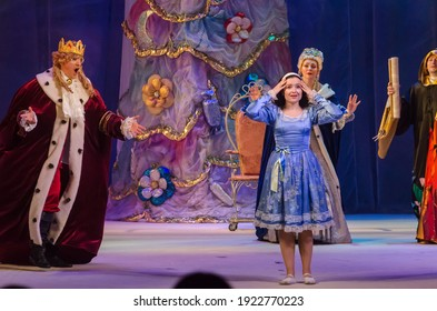 Kamyanske, UKRAINE - DECEMBER 29, 2020:  The Nutcracker and the Mouse King performed by members of the  Lesya Ukrainka Theater from the city of Kamenskoye.