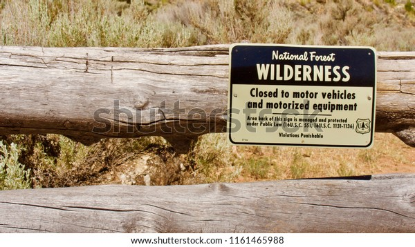 Kanab Creek Wilderness, Arizona, USA, June 2018.  A National Forest Wilderness sign marks the beginning of the Snake Gulch Canyon hike.