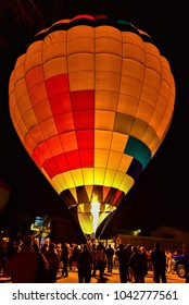 Kanab, UT. USA, February 17, 2018.  The annual Balloons and Tunes Festival is spectacular as the hot air balloons rise above the red rock desert landscape.