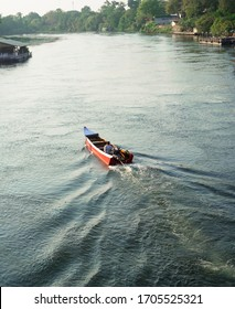 Kanachaburi Thailand on March 14, 2020: a boat was sailing to another part of Kwai river