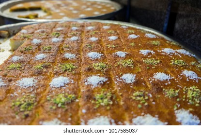Kanafeh pieces for sale at sweets store in Jordan