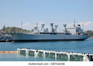 Kanagawa, Japan - April 14, 2007:Indian Navy INS Jyoti (A58), Jyoti-class Replenishment oiler.