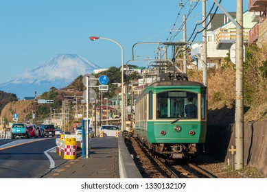Kanagawa / Japan - December 2017:  The Enoshima Electric Railway or Enoden is a private railway in Japan which connects Kamakura Station in Kamakura with Fujisawa Station in Fujisawa, Kanagawa.