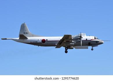 Kanagawa, Japan - February 03, 2017:Japan Maritime Self-Defense Force UP-3C Orion Flying Test Bed.