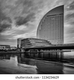 Kanagawa, Japan - February 12, 2016 : black and white shot of InterContinental Yokohama Grand luxury landmark hotel from Yokohama Cosmo World on February 12, 2116 at Kanagawa, Japan.