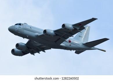 Kanagawa, Japan - January 23, 2017:Japan Maritime Self-Defense Force Kawasaki P-1 maritime patrol aircraft low flight level approrch at Atsugi AB.